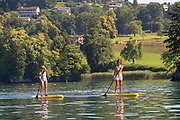 """Lucerne, SWITZERLAND, 12th July 2018, Friday  View,  Paddle Boarder's out on """"Lake Lucerne',  Photographer, Karon PHILLIPS,"""