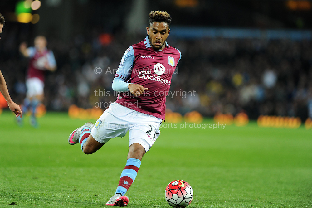 Jordan Amavi of Aston Villa in action. Barclays Premier League match, Aston Villa v Manchester Utd at Villa Park in Birmingham, Midlands on Friday 14th August  2015.<br /> pic by Andrew Orchard, Andrew Orchard sports photography.