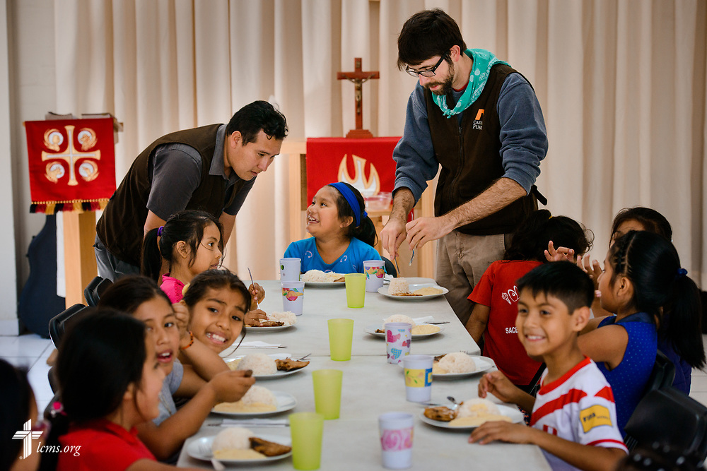 Children arrive for their lunch at Castillo Fuerte in the La Victoria district of Lima, Peru on Monday, Nov. 6, 2017.  LCMS Communications/Erik M. Lunsford