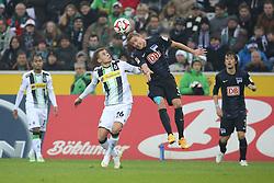 06.12.2014, Borussia Park, Moenchengladbach, GER, 1. FBL, Borussia Moenchengladbach vs Hertha BSC, 14. Runde, im Bild Per Ciljan Skjelbred (Hertha BSC Berlin #3) im Kopfballduell gegen Thorgan Hazard (Borussia Moenchengladbach #26) // 15054000 during the German Bundesliga 14th round match between Borussia Moenchengladbach and Hertha BSC at the Borussia Park in Moenchengladbach, Germany on 2014/12/06. EXPA Pictures &copy; 2014, PhotoCredit: EXPA/ Eibner-Pressefoto/ Sch&uuml;ler<br /> <br /> *****ATTENTION - OUT of GER*****