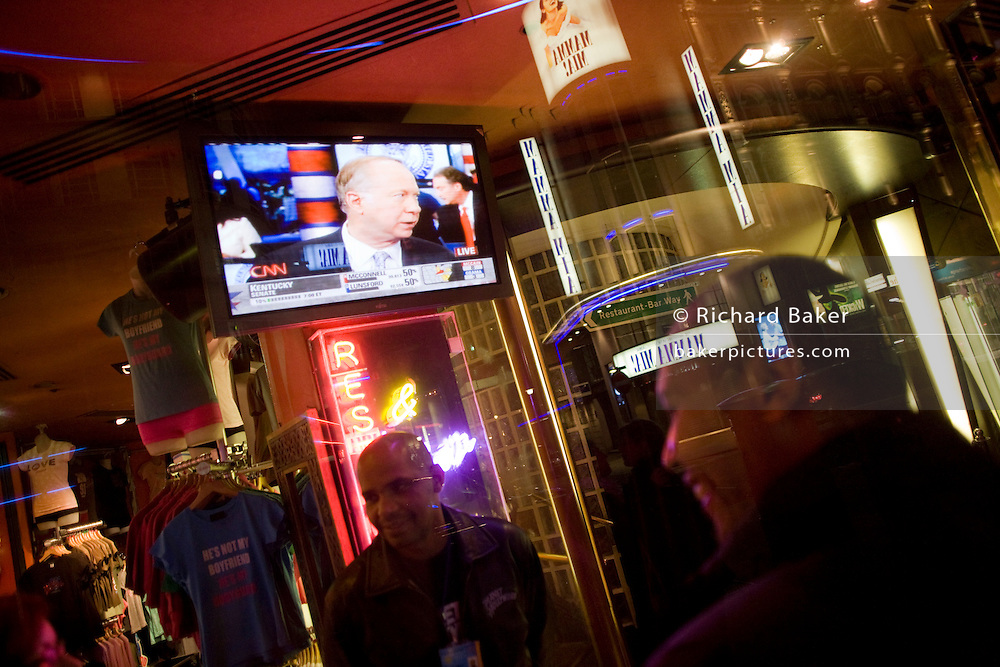 Live TV broadcasts from the US shows overnight results of the 2008 presidential elections that Barack Obama eventually won