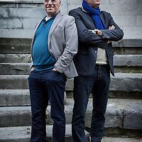 Nederland, Maastricht, 13 februari 2016.<br /> Voormalige directeuren van de Toneelacademie. Links Jacques Giesen en Leo Swinkels.<br /> <br /> <br /> <br /> Foto: Jean-Pierre Jans