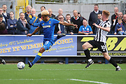 AFC Wimbledon striker Lyle Taylor (33) crossing the ball during the EFL Sky Bet League 1 match between AFC Wimbledon and Rochdale at the Cherry Red Records Stadium, Kingston, England on 30 September 2017. Photo by Matthew Redman.