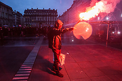 May 7, 2017 - Lyon, France - Protesters rally in Lyon on May 7, 2017 to protest against capitalism following the announcement of the results of the second round of the French presidential election. Emmanuel Macron was elected French president on May 7, 2017 in a resounding victory over far-right Front National (FN - National Front) rival after a deeply divisive campaign. (Credit Image: © Nicolas Liponne/NurPhoto via ZUMA Press)