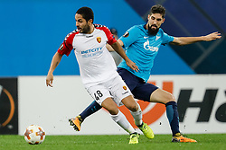 November 23, 2017 - Saint Petersburg, Russia - Miha Mevlja (R) of FC Zenit Saint Petersburg and Ytalo of FK Vardar vie for the ball during the UEFA Europa League Group L match between FC Zenit St. Petersburg and FK Vardar at Saint Petersburg Stadium on November 23, 2017 in Saint Petersburg, Russia. (Credit Image: © Mike Kireev/NurPhoto via ZUMA Press)