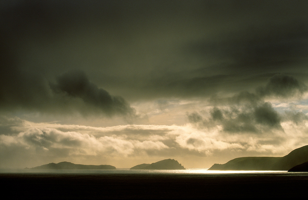 Storm over Blasket Islands from Slea Head, Dingle Peninsula, Co. Kerry, Ireland. L-R Inishvickillane, Inishabro, Great Blasket.