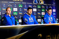 Nick ABENDANON / Damien CHOULY / Franck AZEMA - 01.05.2015 - Conference de presse Clermont avant la finale - European Rugby Champions Cup -Twickenham -Londres<br /> Photo : David Winter / Icon Sport