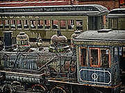 Retired steam locomotives and passenger cars at Steamtown, USA, National Park.