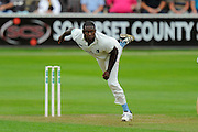 Keith Barker of Warwickshire bowling during the Specsavers County Champ Div 1 match between Somerset County Cricket Club and Warwickshire County Cricket Club at the Cooper Associates County Ground, Taunton, United Kingdom on 6 September 2016. Photo by Graham Hunt.