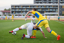 Matija Soldo of NK Ankaran Hrvatini and Lovro Bizjak of NK Domzale during football match between NK Domzale and NK Ankaran Hrvatini in Round #30 of Prva liga Telekom Slovenije 2017/18, on May 2nd, 2018 in Sports Park Domzale, Domzale, Slovenia. Photo by Urban Urbanc / Sportida