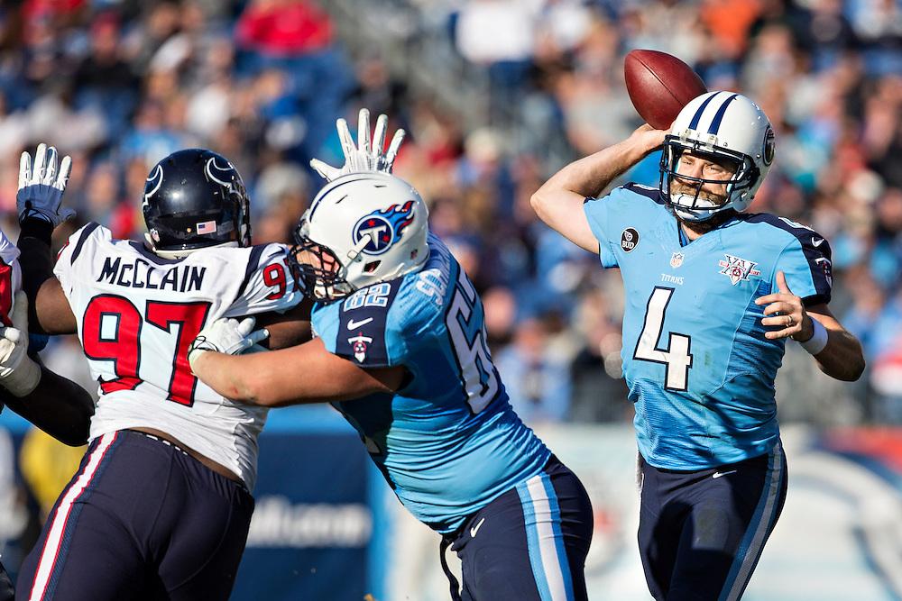 NASHVILLE, TN - DECEMBER 29:  Ryan Fitzpatrick #4 of the Tennessee Titans throws a pass against the Houston Texans at LP Field on December 29, 2013 in Nashville, Tennessee.  The Titans defeated the Texans 16-10.  (Photo by Wesley Hitt/Getty Images) *** Local Caption *** Ryan Fitzpatrick