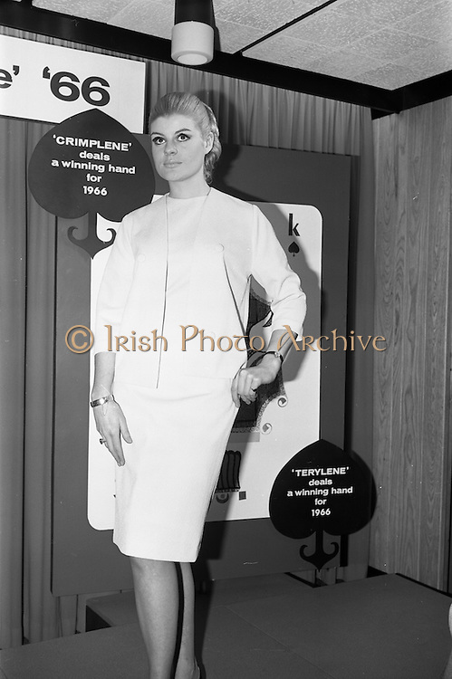 "08/02/1966<br /> 02/08/1966<br /> 08 February 1966<br /> Fashion Show at I.C.I. Hawkins House, Dublin. Carole wearing ""Crimplene"" dress and jacket in blue by Lombard Continentals."