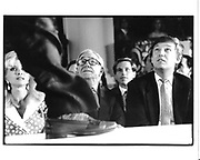 Ivana Trump, Malcolm Forbes and Donald Trump watching an Esquire fashion show. Plaza, NY. 1987. © Copyright Photograph by Dafydd Jones 66 Stockwell Park Rd. London SW9 0DA Tel 020 7733 0108 www.dafjones.com
