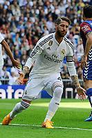 Real Madrid´s Sergio Ramos during 2014-15 La Liga match between Real Madrid and Eibar at Santiago Bernabeu stadium in Madrid, Spain. April 11, 2015. (ALTERPHOTOS/Luis Fernandez)