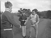 Ireland Soccer Team Training.1983.14.11.1983.11.14.1983.14th November 1983..The Ireland Soccer team trained, for the forthcoming match against Malta, at Stewarts Hospital,Palmerstown Dublin..Photo of team manager Eoin hand as he prepares to sign autographs for the fans.