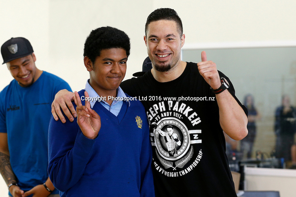 Joseph Parker hands out awards at his old school of Marcellin College ahead of his WBO world boxing heavyweight title fight. Royal Oak, Auckland. 6 December 2016. Copyright Image: William Booth / www.photosport.nz
