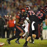 08 October 2016: The San Diego State Aztecs football team open's up the mountain west conference season at home against the University of Nevada Las Vegas Rebels. San Diego State running  back Rashaad Penny (20) scores a rushing touchdown in the fourth quarter. The Aztecs beat the Rebels 26-7 to improve to 4-1 and 1-0 in conference play. www.sdsuaztecphotos.com