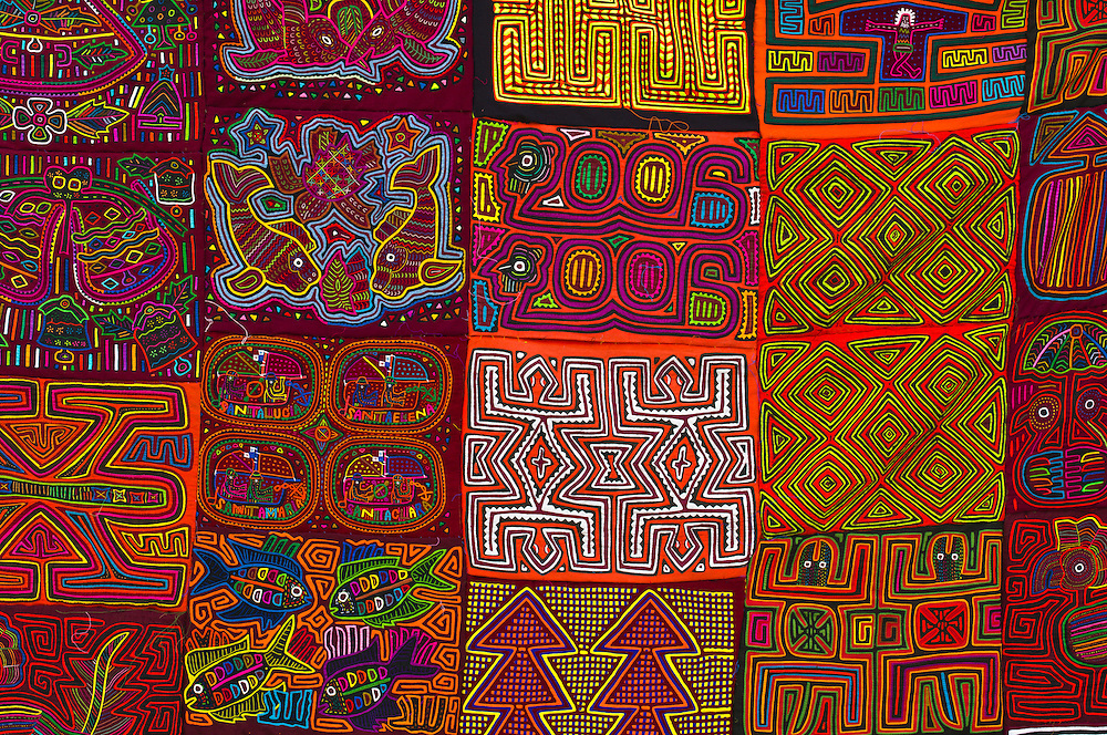 Kuna Indian mola embrodery handicrafts, Street market, Casco Viejo (the Old City), San Felipe, Panama City, Panama
