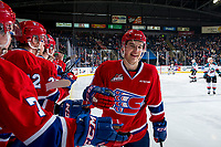 KELOWNA, BC - MARCH 13: Noah King #4 of the Spokane Chiefs fist bumps players on the bench to celebrate a goal against the Kelowna Rockets at Prospera Place on March 13, 2019 in Kelowna, Canada. (Photo by Marissa Baecker/Getty Images)