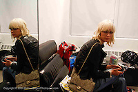 Dewi Driegen backstage at the Altuzarra show at Milk Studios during Mercedes-Benz fashion week 2009 on Sept. 12, 2009..Photo Credit ; Rahav Segev/Retna