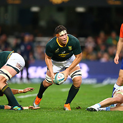 DURBAN, SOUTH AFRICA - AUGUST 18:Francois Louw of South Africa  during the Rugby Championship match between South Africa and Argentina at Jonsson Kings Park on August 18, 2018 in Durban, South Africa. (Photo by Steve Haag/Gallo Images)