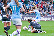 Manchester City Women midfielder Keira Walsh (24) scores a goal to make the score 1-0 during the FA Women's Super League match between Manchester City Women and BIrmingham City Women at the Sport City Academy Stadium, Manchester, United Kingdom on 12 October 2019.