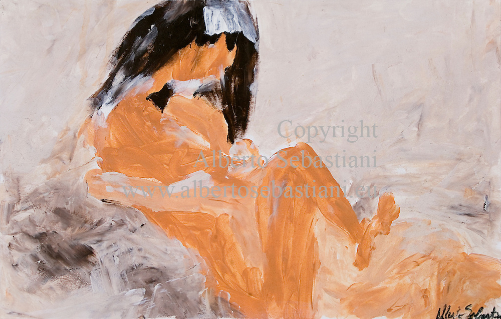 a hand made erotic painting representing a couple in bed in a smooth light. this drawing was created as a hand made work following exclusively my own fantasy and personal inspiration; it is an original composition of which I'm the sole author