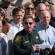 THURSDAY, FEBRUARY 15- 2018---PARKLAND, FLORIDA--<br /> Broward County Sheriff Scott Israel during a press conference outside Marjory Stoneman Douglass High School one day after a mass shooting with 17 casualties.<br /> (Photo by Angel Valentin/FREELANCE)