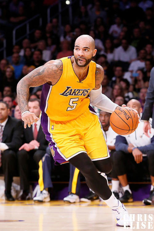 19 October 2014: Los Angeles Lakers forward Carlos Boozer (5) dribbles during the Los Angeles Lakers 98-91 victory over the Utah Jazz, in a preseason game, at the Staples Center, Los Angeles, California, USA.