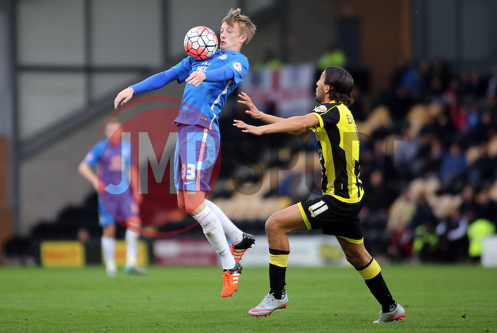 Chris Forrester of Peterborough United controls the ball away from Abdenasser El Khayati of Burton Albion - Mandatory byline: Joe Dent/JMP - 07966 386802 - 07/11/2015 - FOOTBALL - Pirelli Stadium - Burton, England - Burton Albion v Peterborough United - FA Cup = First Round