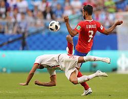 SAMARA, June 17, 2018  Giancarlo Gonzalez (R) of Costa Rica vies with Dusko Tosic of Serbia during a group E match between Costa Rica and Serbia at the 2018 FIFA World Cup in Samara, Russia, June 17, 2018. Serbia won 1-0. (Credit Image: © Fei Maohua/Xinhua via ZUMA Wire)