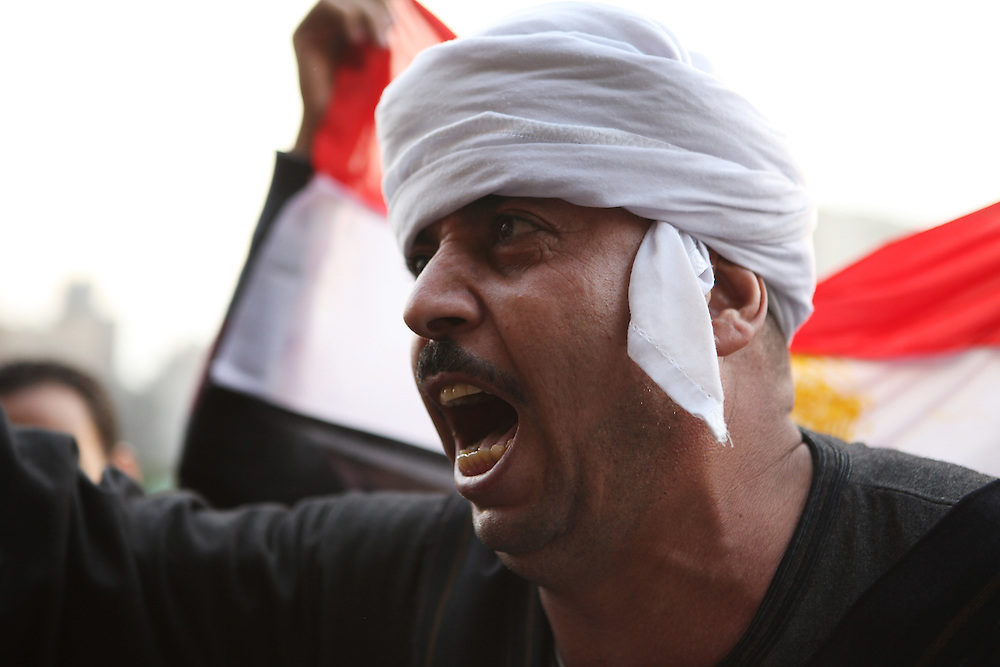 A man from southern Egypt chants against Mubarak at Tahrir Square, 9 February.