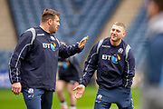 Simon Berghan (#18) of Scotland and Finn Russell (#10) of Scotland during the Captain's training run for Scotland at BT Murrayfield, Edinburgh, Scotland on 8 March 2019 ahead of the Guinness 6 Nations match against Wales.
