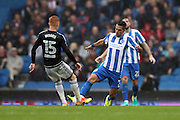 Brighton & Hove Albion central midfielder Beram Kayal (7) and Brentford midfielder Ryan Woods (15) battles for possession during the EFL Sky Bet Championship match between Brighton and Hove Albion and Brentford at the American Express Community Stadium, Brighton and Hove, England on 10 September 2016.