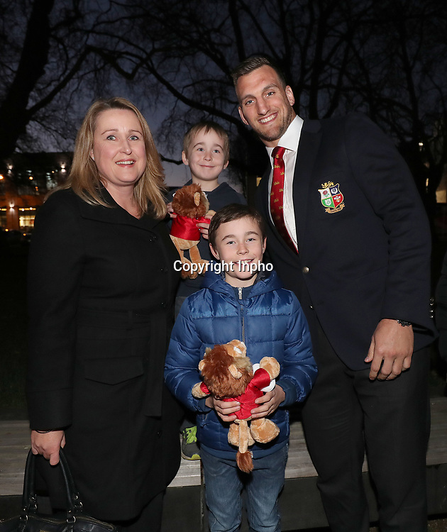 2017 British &amp; Irish Lions Tour To New Zealand<br /> British &amp; Irish Lions Visit The Cantebury Earthquake Memorial, Christchurch, New Zealand 8/6/2017<br /> Sam Warbuton with Sarah O'Connor and her two sons Sean and Dan whose father John O'Connor, originally from Tralee died in the 2011 earthquake, during a visit to the Canterbury Earthquake National Memorial in Christchurch<br /> Mandatory Credit &copy;INPHO/Dan Sheridan / www.photosport.nz