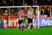 Goal.  Exeter City's Tom Nichols celebrates after scoring during the Sky Bet League 2 match between Exeter City and Luton Town at St James' Park, Exeter, England on 19 December 2015. Photo by Graham Hunt.