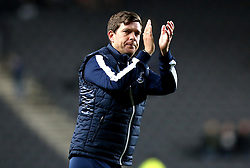 Darrell Clarke manager of Bristol Rovers applauds the fans after the 3-3 draw at Milton Keynes Dons - Mandatory by-line: Robbie Stephenson/JMP - 18/10/2016 - FOOTBALL - Stadium MK - Milton Keynes, England - Milton Keynes Dons v Bristol Rovers - Sky Bet League One