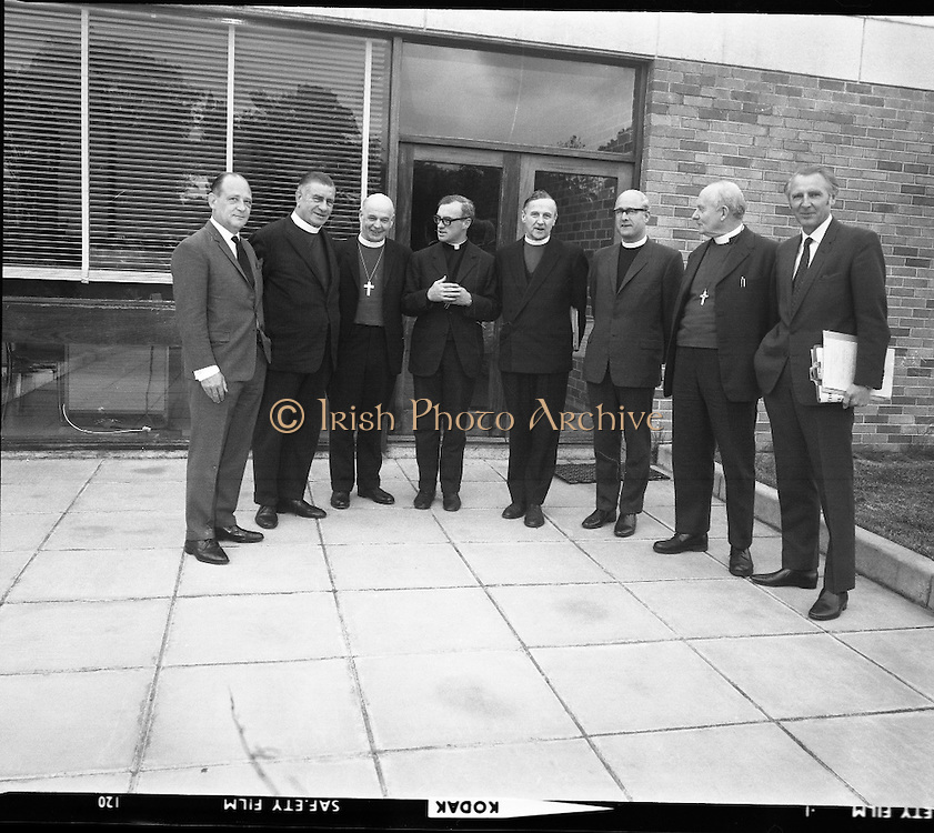 Church of Ireland Course for Bishops at Communication Centre.<br /> 1970.<br /> 28.05.1970.<br /> 05.28.1970.<br /> 28th May 1970.<br /> A two day coures in communications was held for Church of Ireland  Bishops at The Communication Centre.Booterstown Ave, Blackrock, Dublin. The course was designed so that the Bishops would be able to give their message in a clear and concise way using radio and television.<br /> <br /> Pictured at the communications course were: (L-R), Mr Barry Baker, Head of Training,Communications Centre; Rev R Pike, Bishop of Meath; Rev J Armstrong, Bishop of Cashel; Rev P Lemass, Director, Communications Centre: Rev G Simms, Archbishop of Armagh,Primate of Ireland: Rev O Barr, RTE: Rev E Moore,Bishop of Kilmore and Mr Brian Cleeve, RTE.