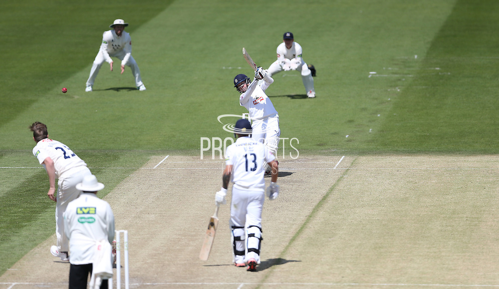 Adam Wheater hits six runs on his way to a century during the LV County Championship Div 1 match between Sussex County Cricket Club and Hampshire County Cricket Club at the BrightonandHoveJobs.com County Ground, Hove, United Kingdom on 8 June 2015.