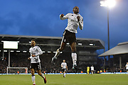 Fulham defender Ryan Sessegnon (3) celebrates scoring a goal, making the score 5-0, during the EFL Sky Bet Championship match between Fulham and Burton Albion at Craven Cottage, London, England on 20 January 2018. Photo by Richard Holmes.