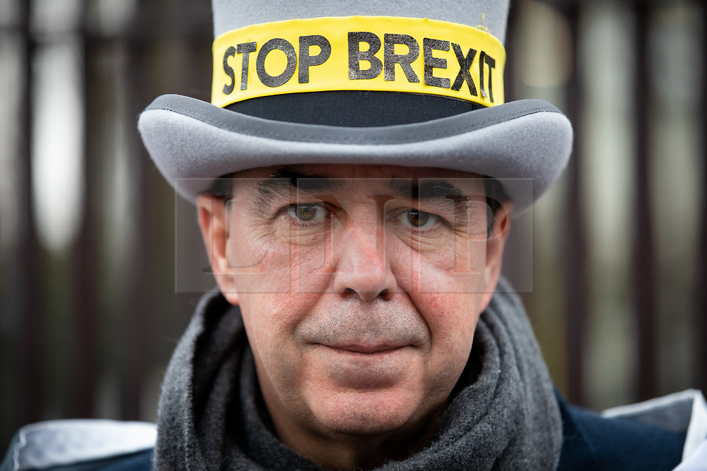 """© Licensed to London News Pictures. 17/12/2019. London, UK. Anti-Brexit campaigner Steve Bray (also known as the """"Stop Brexit Man"""") demonstrates in Westminster on the final official day of demonstration by the 'Stand of Defiance European Movement' (SODEM). Steve Bray started the group in September 2017 Photo credit : Tom Nicholson/LNP"""