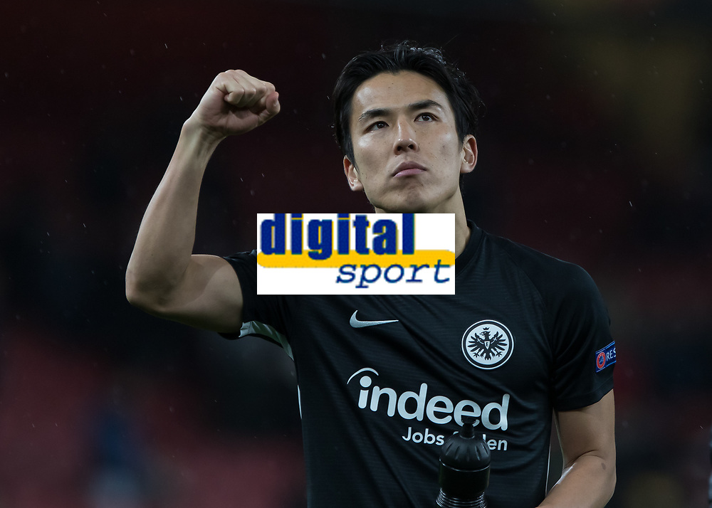 Football - 2019 / 2020 UEFA Europa League - Group F:Arsenal vs. Eintracht Frankfurt<br /> <br /> Makoto Hasebe (Eintracht Frankfurt) celebrates in front of the small group of travelling fans at the end of the game at The Emirates.<br /> <br /> COLORSPORT/DANIEL BEARHAM