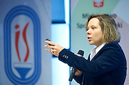 Agata Dziarnowska from European Commission speaks during conference Trainers Academy for trainers and coaches at National Stadium in Warsaw on September 30, 2014.<br /> <br /> Poland, Warsaw, September 30, 2014<br /> <br /> Picture also available in RAW (NEF) or TIFF format on special request.<br /> <br /> For editorial use only. Any commercial or promotional use requires permission.<br /> <br /> Mandatory credit:<br /> Photo by © Adam Nurkiewicz / Mediasport