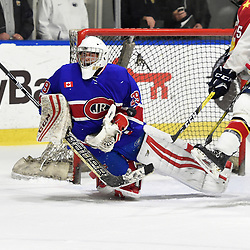 BUFFALO, NY - SEP 20,  2017: Ontario Junior Hockey League Governors Showcase game between the Toronto Jr. Canadiens and Wellington Dukes, Dalton Ewing #29 of the Toronto Jr. Canadiens makes the save during the second period.<br /> (Photo by Andy Corneau / OJHL Images)