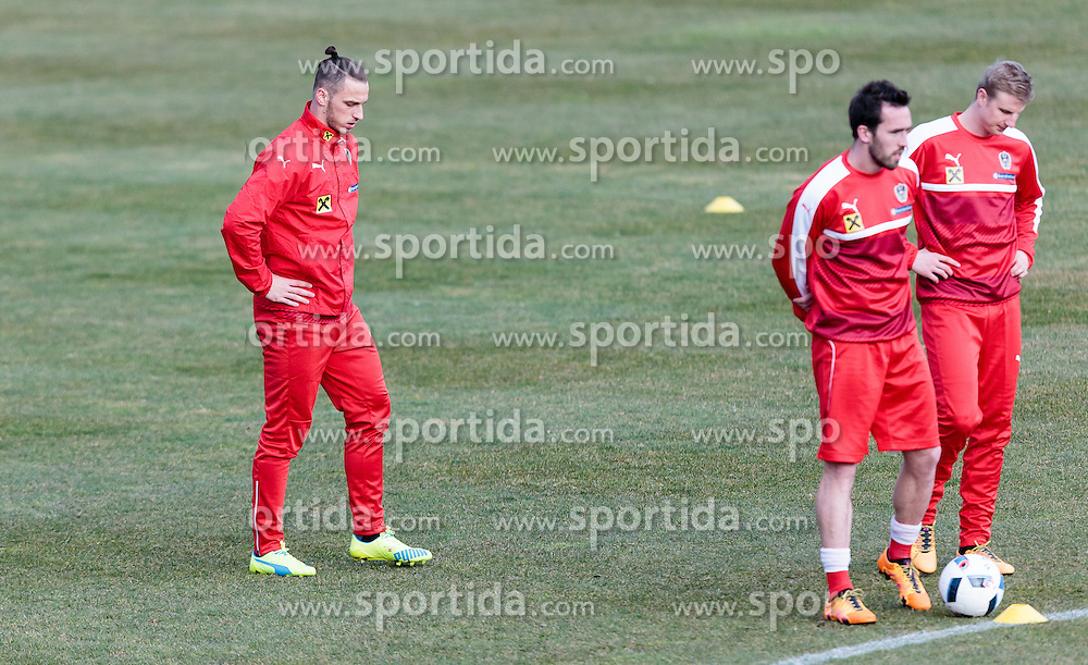 22.03.2016, Sportzentrum, Stegersbach, AUT, OeFB Training, im Bild v.l.: Marko Arnautovic (AUT), Christian Fuchs (AUT), Martin Hinteregger (AUT) // f.l.: Marko Arnautovic (AUT), Christian Fuchs (AUT), Martin Hinteregger (AUT) during a Trainingssession of Austrian National Footballteam at the Sportcenter in Stegersbach, Austria on 2016/03/22. EXPA Pictures © 2016, PhotoCredit: EXPA/ JFK