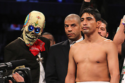 Oct 19, 2012; Brooklyn, NY, USA; Erik Morales before his 12 round bout against WBC/WBA super lightweight champion Danny Garcia at the Barclays Center. Garcia won via 4th round KO.