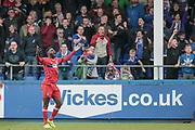 Jabo Ibehre (Carlisle United) and the fans react to his goal being disallowed by the assistant referee during the EFL Sky Bet League 2 match between Hartlepool United and Carlisle United at Victoria Park, Hartlepool, England on 14 April 2017. Photo by Mark P Doherty.