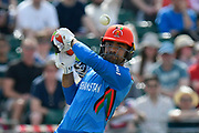 Rashid Khan (vc) of Afghanistan attacks a short ball during the ICC Cricket World Cup 2019 match between Afghanistan and Australia at the Bristol County Ground, Bristol, United Kingdom on 1 June 2019.