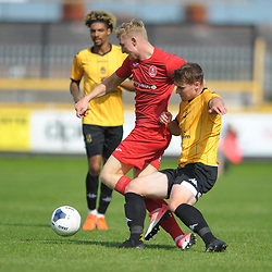 TELFORD COPYRIGHT MIKE SHERIDAN Chris Lait of Telford and Reagan Ogle of Southport during the National League North fixture between Southport and AFC Telford United at Haig Avenue on Saturday, August 24, 2019<br /> <br /> Picture credit: Mike Sheridan<br /> <br /> MS201920-005