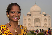 Taj Mahal & People<br /> Agra<br /> Uttar Pradesh,  India<br /> UNESCO World Heritage Site